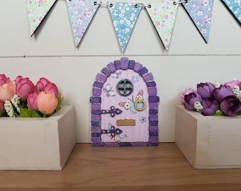 Fairy Door Purple Butterflies Beautiful Handmade Can be personalized