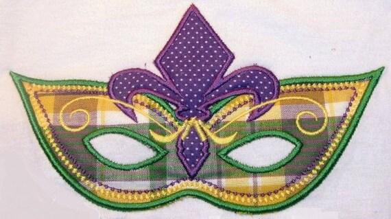LG Fleur De Lis Mardi Gras Mask Applique Design