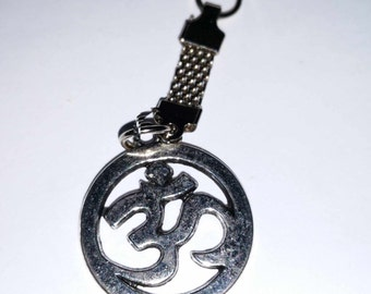 om sign  keyring, silver plated made in wales uk