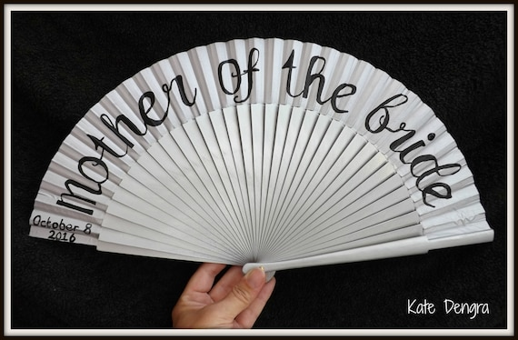 Mother of the Bride Bridal Silver Black Party Any Wording Any Color Any Font Hand Painted Hand Fan Folding Wood Fabric Hand Held Wedding Fan