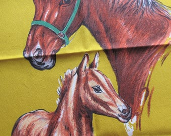 vintage mare and foal cotton fabric