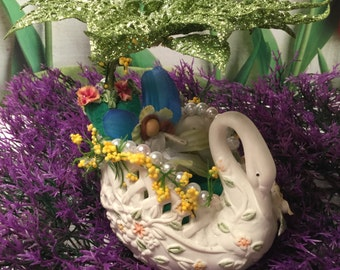 Ceramic Swan-boat with Fairy, Dreamy, Fantasy, Birthday Gift, Pearls and Poinsettias,Mother's Day