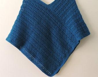 Crocheted Blue Poncho