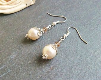 Cream and topaz Swarovski pearl and crystal drop earrings, sterling silver earrings, Swarovski Elements, pearl dangle earrings, gift for her