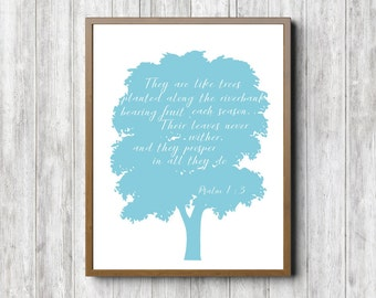 Instant Download - Psalm 1 :3 Scripture Wall Art - They Are Like Trees Bible Verse Print - Christian Gift / Wall Art - Blue Art Poster
