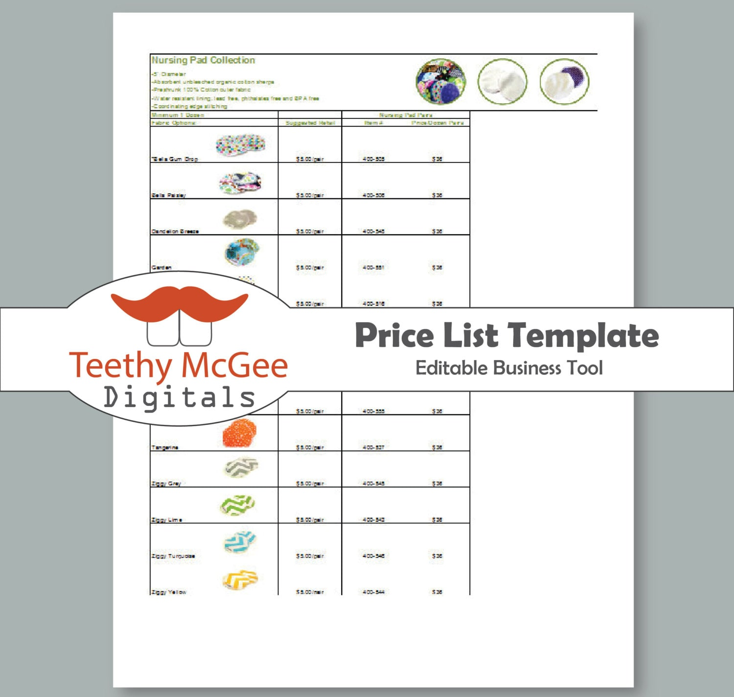 Price List Template Instant Download Editable For Wholesale