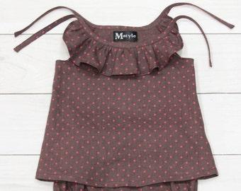 polka dot top, purple linen top, baby girl top, petite clothing, girls ruffle shirt, girls ruffle top, baby girl shirt, baby ruffle top