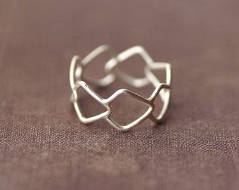 Geometrisch gemusterten Aussage Ring - Sterling Silber