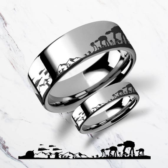 Matching Set Engraved Star Wars Battle of the Hoth ATAT ATST Tungsten Ring Flat Polished - 4mm to 12mm Available - Lifetime Size Exchanges