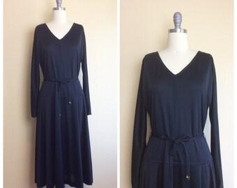 70s Mr. Fine Poly Little Black Dress / 1970s / Seventies / Vintage Drop Waist Dress With Rope Belt / Medium / Large