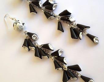 Long Earrings, Polymer Clay Earrings, Abstract Earrings