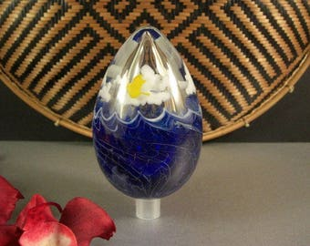 Early Lundberg Studios Daniel Salazar Art Glass Crystal Egg Sculpture 1979