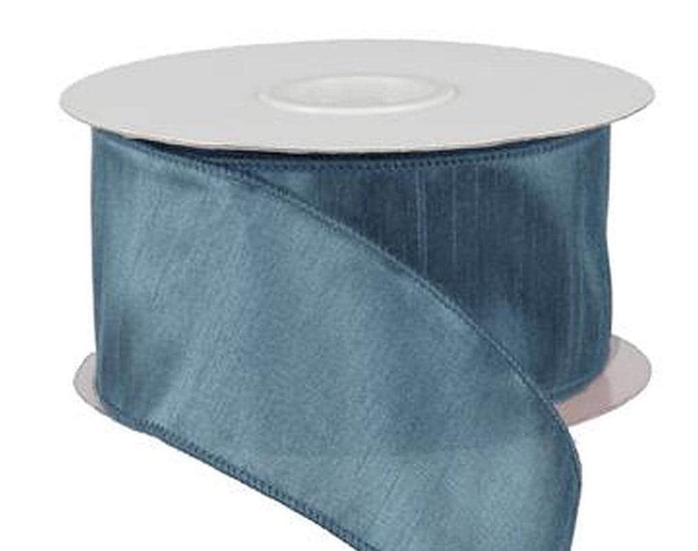 2.5 inch Wired Smoke Blue Faux Dupioni Silk Ribbon ~ Wedding / Home ...