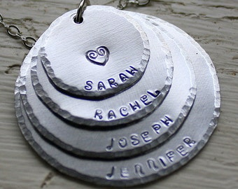 Personalized Mom Necklace - Hand Stamped Jewelry - Layered Grandmother's Necklace - Personalized Necklace - All Aluminum - 4 Names