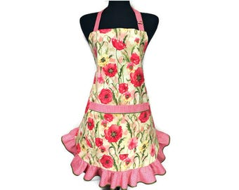 Red Poppy Apron for women / Retro Style Apron with Poppies / Floral Kitchen Apron with Ruffle / Retro Womens Apron with Poppies