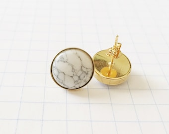 White Turquoise Stone Post Earrings - vermeil gold posts. Bridesmaid Earrings. Gemstone Earrings