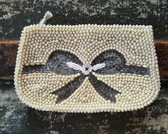 Beaded pearl handbag vintage, small formal clutch, pearl purse or clutch