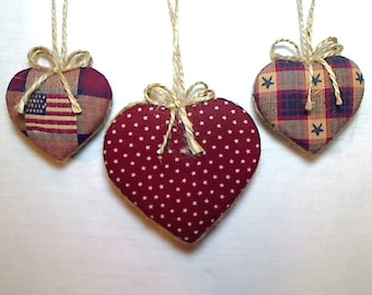 Primitive Americana Heart Ornaments | July 4th Decor | Tree Ornament | Party Favor | Patriotic | Folk Art | Handmade | Holidays | Set/3 | #1