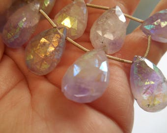 AB finish Pink Amethyst,Large Faceted Pendant Gemstone Semi Precious Beads,  Top Drilled Briolette,  20x13x6mm Per bead