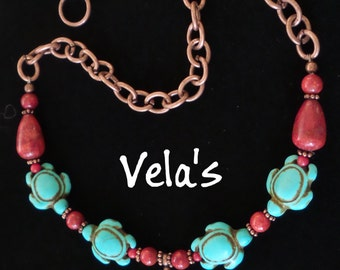 Turquoise Howlite Turtle Beads, Red Sponge Coral Beads Necklace, Antique Copper Plated Chain, Handemade Jewelry, Women's Gift, One of a Kind