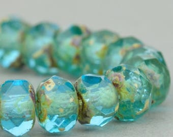 Czech Glass Beads - Czech Glass Rondelles - Aqua Blue Transparent with Picasso Finish  - 5x3mm - 30 Beads