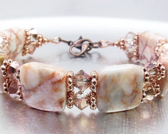 Redline Marble and Copper Crystal Glass Bracelet or Medical ID Bracelet or Interchangeable Watch Band