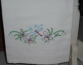 Vintage Style Dragonfly Flour Sack Towel. Machine Embroidered.