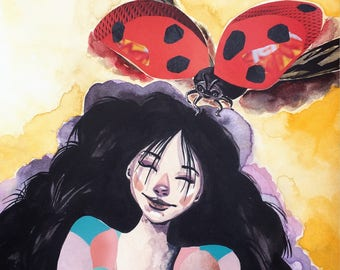 Lady Bug and Me - Original Mixed Media Painting - Girl Portrait by Asma Original
