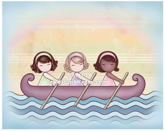 Three girls sisters best friends art girls room sea nursery art print 8x10 children decor Row row your boat brown blonde African girl