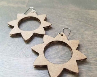 Recycled Cardboard Jewelry - Sun Earrings Handmade