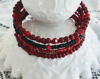 Burgundy and black bracelet