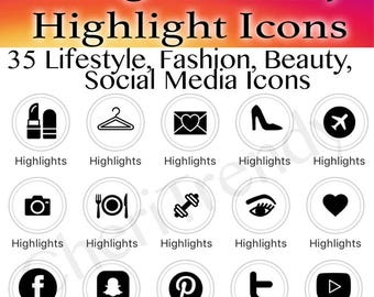 35 Instagram Story Highlight Icons - Black and White - Covers - Instant Download - Lifestyle, Fashion, Beauty, Social Media, Story Covers
