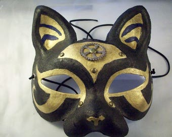 Egyptian-Steampunk Cat Mask - Gold & Black