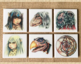 The Dark Crystal Hand-Illustrated Ceramic Coasters, set of 6