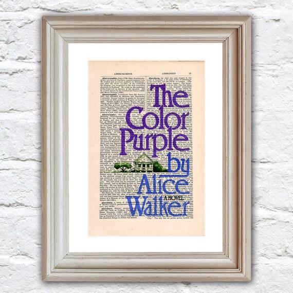 Die Farbe lila von Alice Walker Druck auf eine antike Seite
