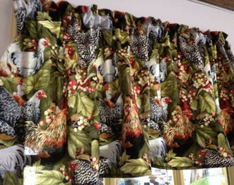 Country Chicken Hen Rooster Farmhouse style Kitchen Valance Handmade from Rustic Cotton Fabric