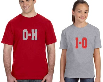 OHIO state shirt set of 2 shirts for Little Ohio State Football Fans Father Son matching tees college football Ohio shirt gift for dad 2X-5X