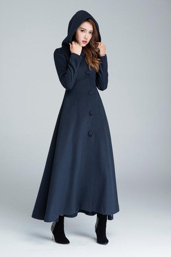Top Wool coat winter coat maxi coat navy blue coat warm winter HG59