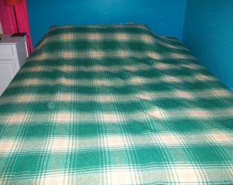Wool Green and Yellow Plaid Faribo Blanket
