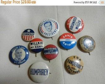 3 Day Spring Clearance 10 Vintage Political Campaign Buttons