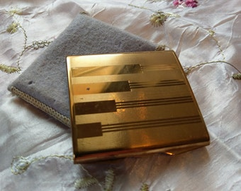 Square Brass Stratton Powder compact 1940's