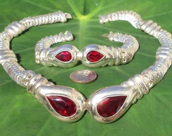 Vintage Heavy Solid Sterling Silver Necklace and Bracelet with Huge Faceted Red CZs