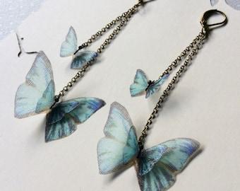Handmade Silk Organza Fabric Light Teal Blue Butterflies Chandelier Earrings - Statement Earrings - Butterfly Earrings - OOAK