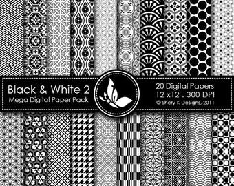 Black & White 2 Mega Paper Pack - 20 Printable Digital papers - 12 x12 - 300 DPI ////// 2