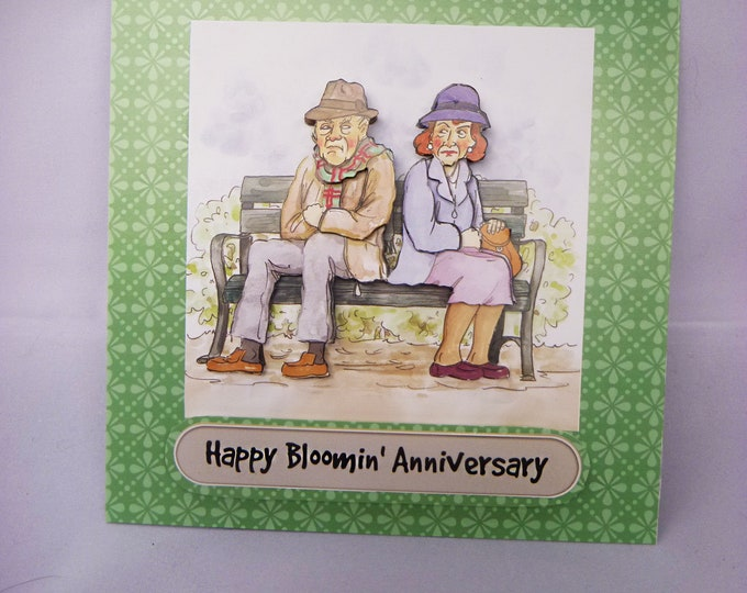 Anniversary Card Couple Sitting On A Bench, Grumpy Couple, Celebration Card, Wedding Anniversary Card, 3 D Decoupage Card,
