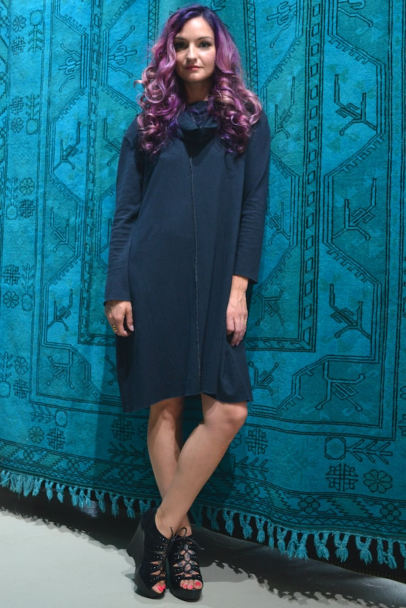 Black babydoll maxi dress with flared sleeves and cowl neck, Light organic Hemp/cotton jersey knit. Made to order.