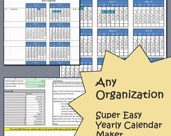 Easy Yearly Calendar Creator