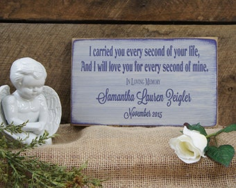 Baby Memorial - Personalized - I carried you every second of your life & I will love you for every second of mine gift card fast shipping