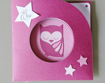 Invitation baby girl - congratulations card - pink OWL - baptism - child birthday invitation
