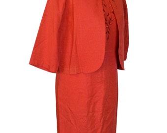 Original Vintage 1950's Red Grosgrain Dress Suit Volup